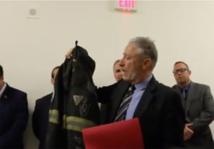 Watch A Tearful Jon Stewart Receive A Touching Gift From 9/11 First Responders